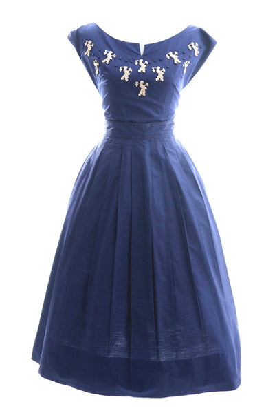 2 Piece 1950's Vintage Dress Blue and Pink with Novelty Appliques - Dressing Vintage