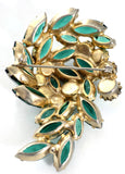 Green rhinestone vintage brooch statement piece