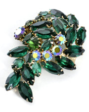 1950s Spectacular Open Back Green and Aurora Borealis Rhinestone Vintage Brooch - Dressing Vintage