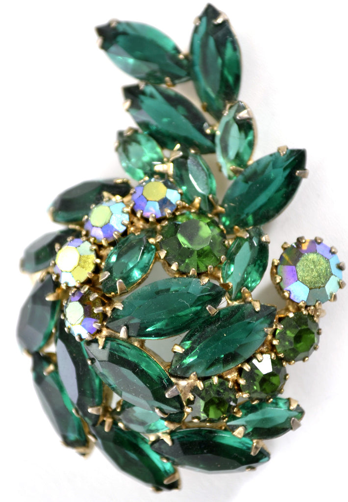 open back vintage green rhinestone brooch