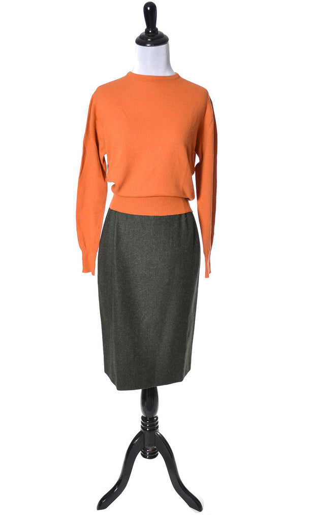 1950's Hadley Orange Cashmere Vintage Sweater SOLD - Dressing Vintage
