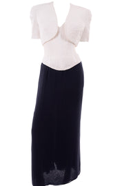 Navy Blue & White Silk Vintage Oscar de la Renta Evening Dress w Tags