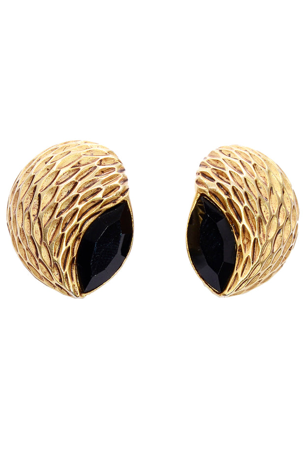 Vintage Oscar de la Renta Textured Gold & Black Pierced Earrings