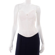 Navy Blue & White Silk Vintage Oscar de la Renta Evening Dress w Tags Bustier