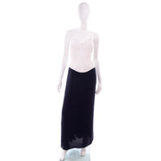 3 pc Navy Blue & White Silk Vintage Oscar de la Renta Evening Dress w Tags