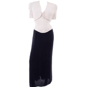 Navy Blue & White Silk Vintage Oscar de la Renta Evening Dress w Tags Bolero & Bustier