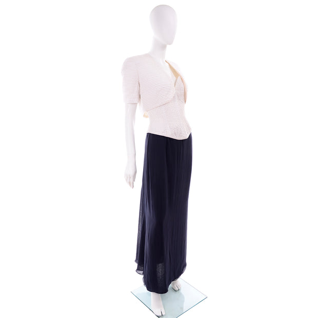 Navy Blue & White Silk Vintage Oscar de la Renta Evening Skirt Jacket Bustier Dress w Tags