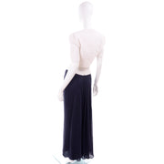 Navy Blue & White Silk Vintage Oscar de la Renta Evening Dress Deadstock w Tags