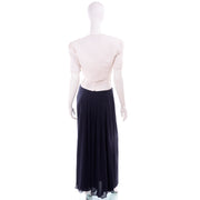 Navy Blue & White Silk Vintage Oscar de la Renta Jacket Bustier & Evening Dress w Tags