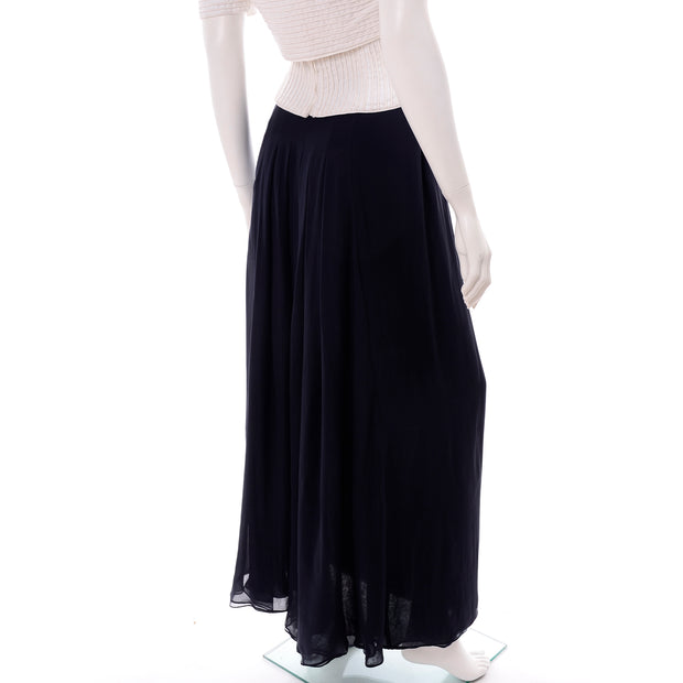 Navy Blue & White Silk Vintage Oscar de la Renta Evening Dress w Tags Skirt