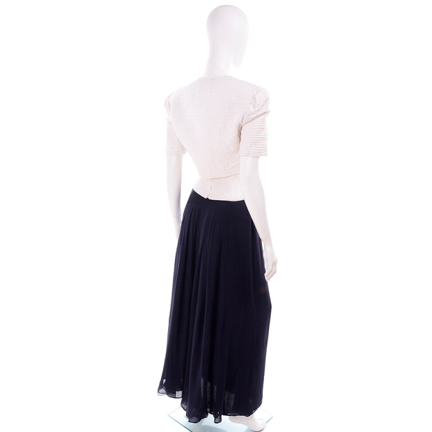 Navy Blue & White Silk Vintage Oscar de la Renta Evening Dress w Tags Jacket & Bustier