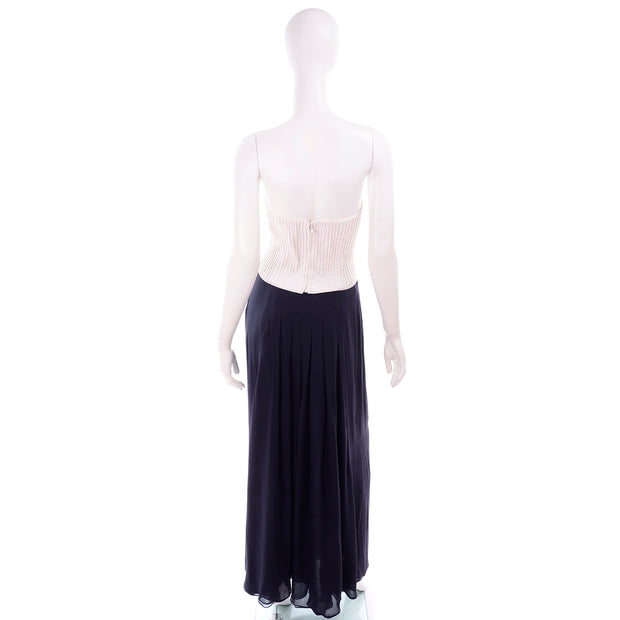 Navy Blue & White Silk Vintage Oscar de la Renta Evening Dress w Tags Chiffon