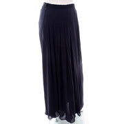 Navy Blue & White Silk Vintage Oscar de la Renta Evening Dress w Tags Chiffon Skirt