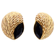 Almond Shaped Vintage Oscar de la Renta Textured Gold & Black Pierced Earrings