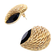 Vintage Oscar de la Renta Textured Gold & Black Pierced Designer Earrings