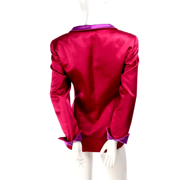 Oscar de la Renta Raspberry Red Satin Jacket 12