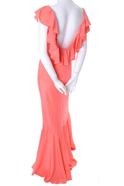 Salmon Oscar de la Renta vintage 1990's silk ruffle dress plunging back