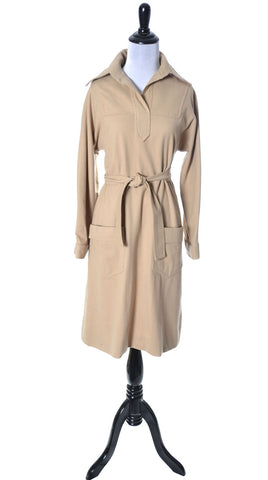 1960's Designer Vintage Oscar de la Renta Tan Wool Dress - Dressing Vintage