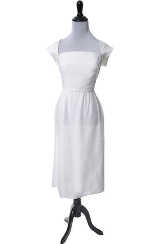 1940's or Early 50's Pat Premo White Linen Vintage Dress - Dressing Vintage