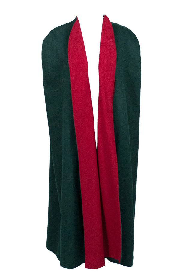 Vintage Pauline Trigere Red Green Wool Cape Rare Label - Dressing Vintage