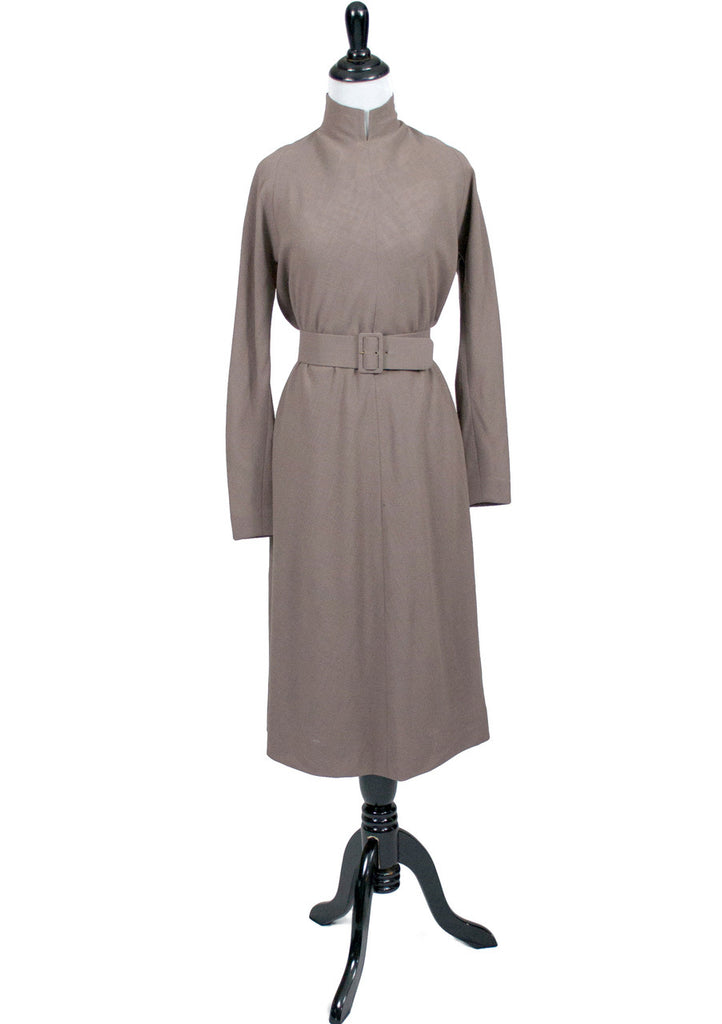 Vintage Pauline Trigere Taupe tent trapeze dress with belt
