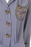1940's periwinkle dress beaded pocket