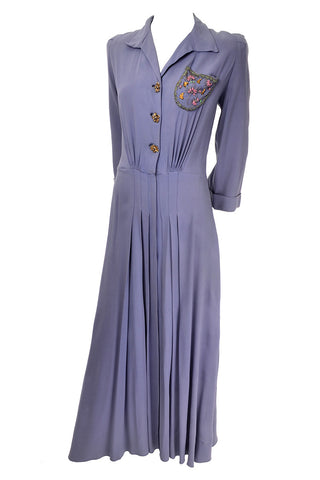 Alfred Shaheen Blue Hand Printed Vintage Long Dress 1970s As New