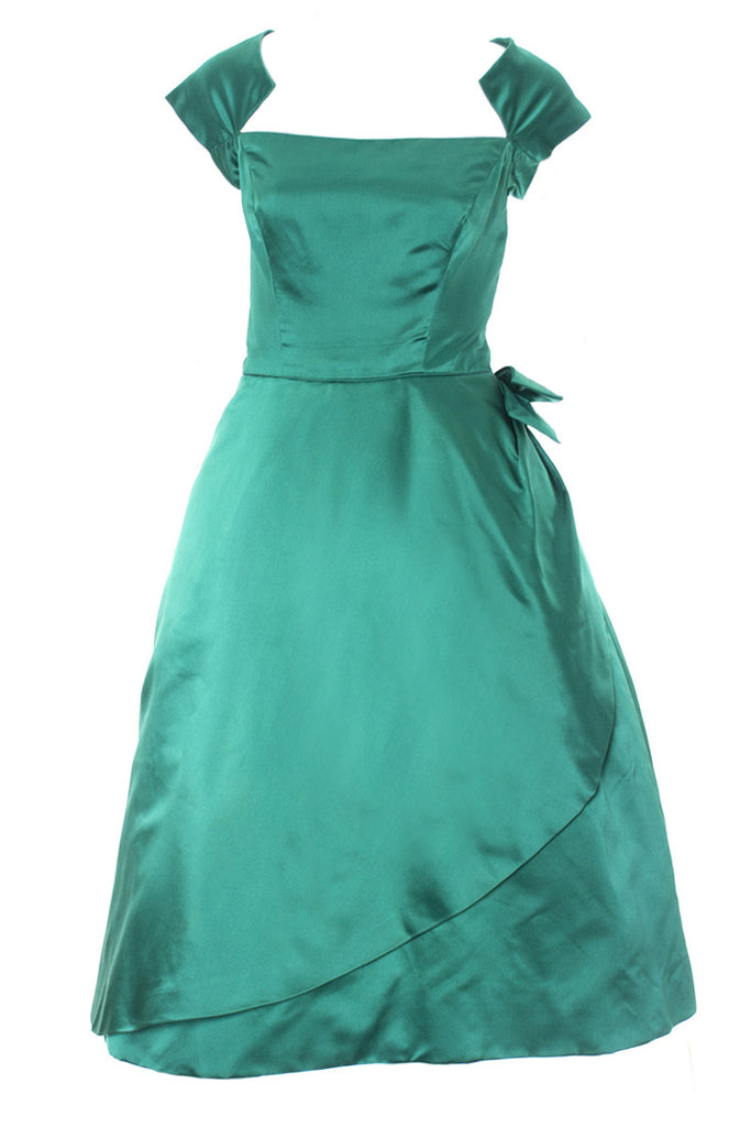 Philip Hulitar 1950s Vintage Green Satin Dress with Bow and Beautiful Neckline Size 6 - Dressing Vintage