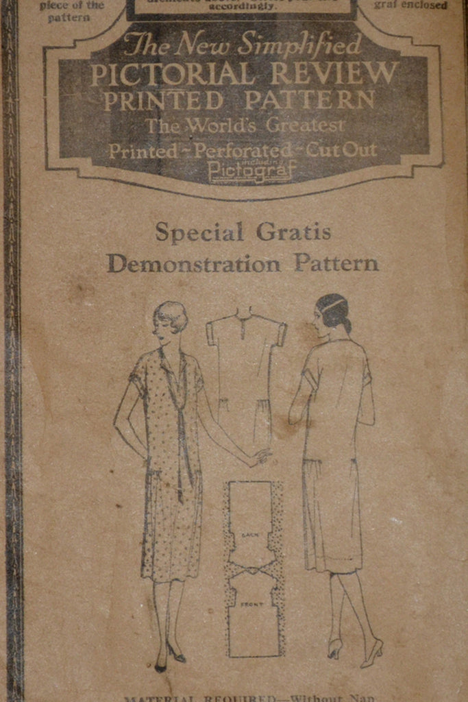 "1920s Original Pattern for Vintage Dress New Simplified Pictorial Review 38"" Bust - Dressing Vintage"