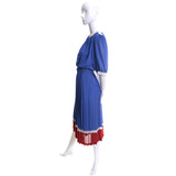1970s Pierre Cardin Vintage Dress Blue Red White
