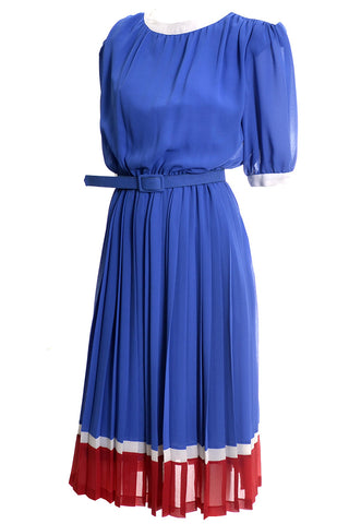Periwinkle Blue Purple 1940's Vintage Dress Long with Pleats and Beading 8