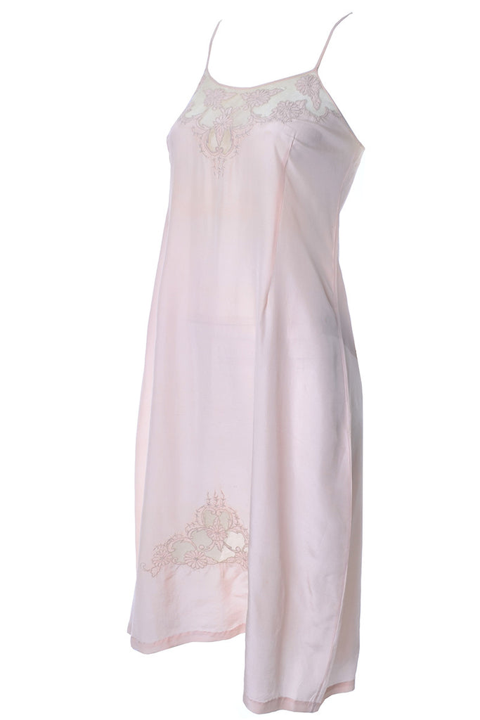 1930s Pink Silk Vintage Nightgown or Slip Lace Inserts Appliques ...