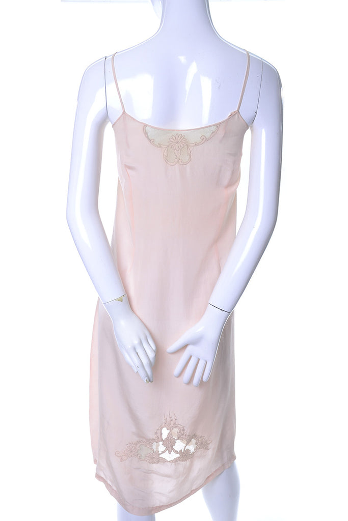 Vintage 1930s Silk slip lace inserts pink