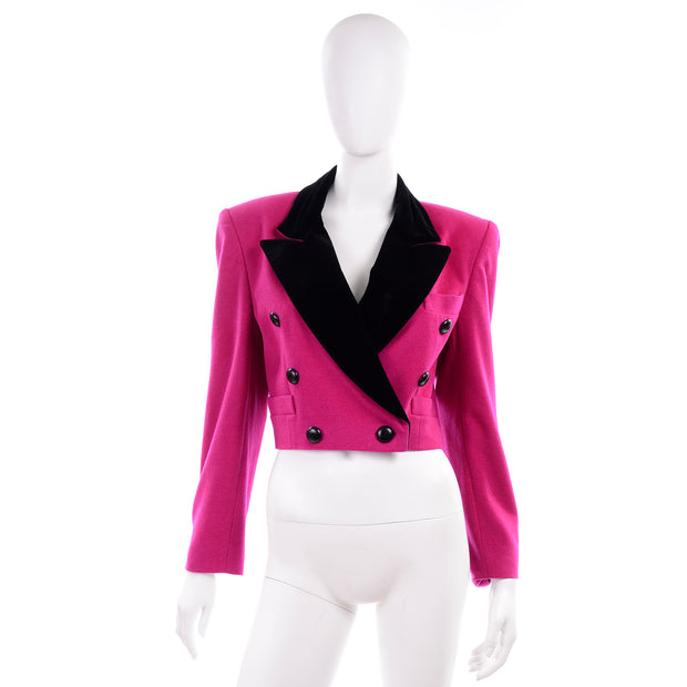 1980s Escada Pink Cropped Vintage Jacket by Margaretha Ley