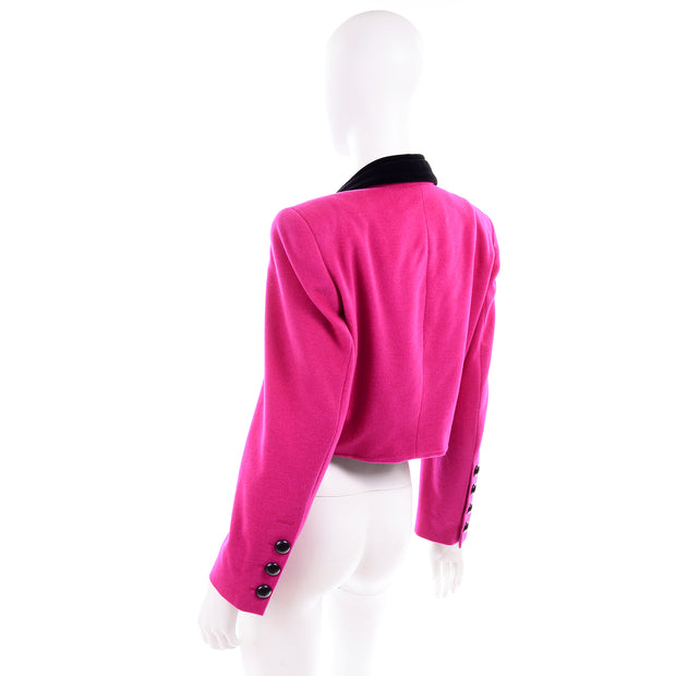 80s Escada Pink Cropped Vintage Jacket by Margaretha Ley