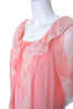 1960s 2 pc Vintage Pink Peignoir Nightgown Robe Set