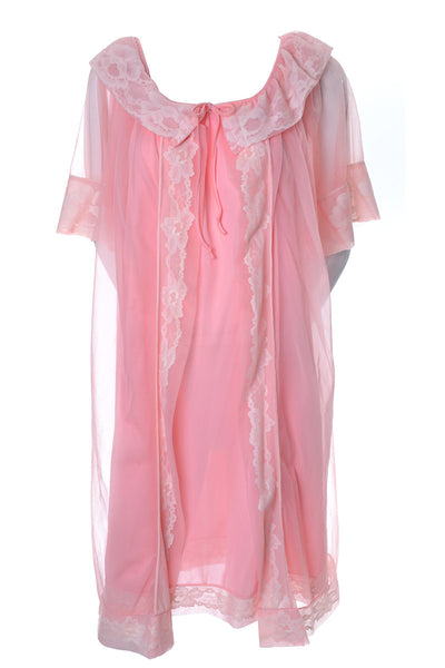 Vintage Pink Peignoir Nightgown Robe Set
