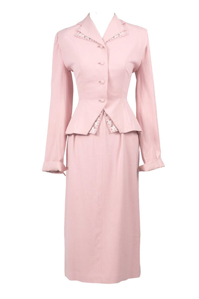 Martha Gale 1940s vintage pink skirt suit with beading - Dressing Vintage