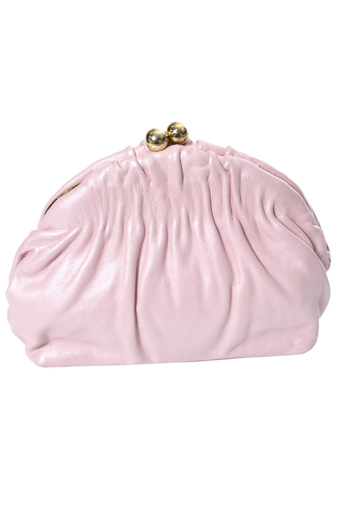 Etra pink leather clutch at Dressing Vintage