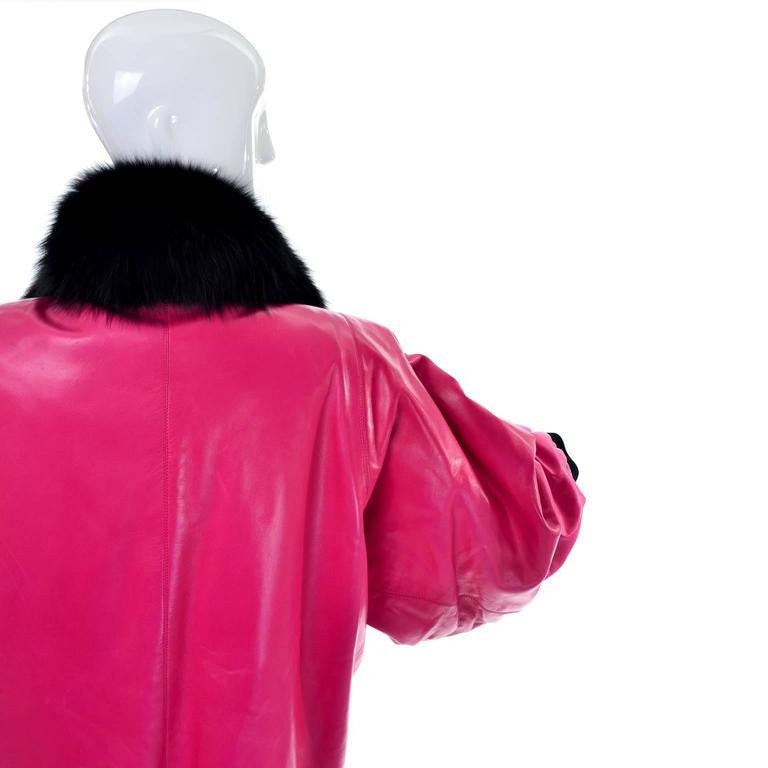 Vintage Yves Saint Laurent 1980's documented haute couture pink leather coat with thick black fur trim