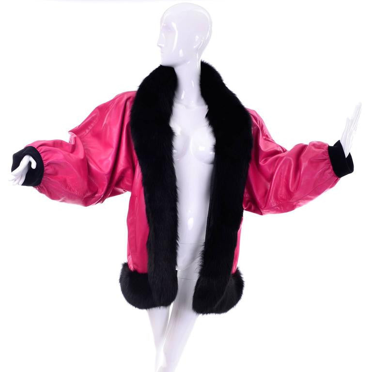 1980s documented haute couture YSL pink leather jacket with fur trim