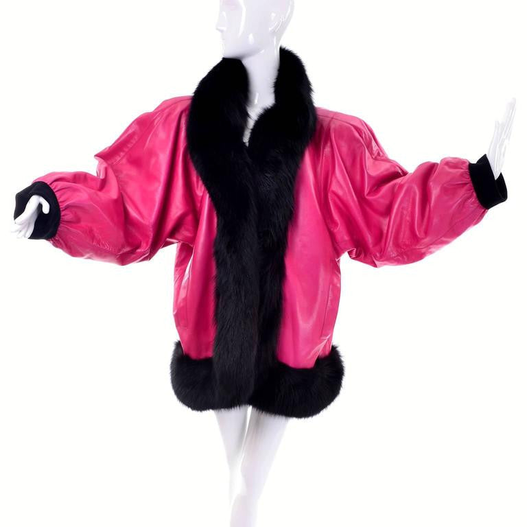 1987 1988 F/W haute couture YSL pink leather oversized coat with black fox fur trim