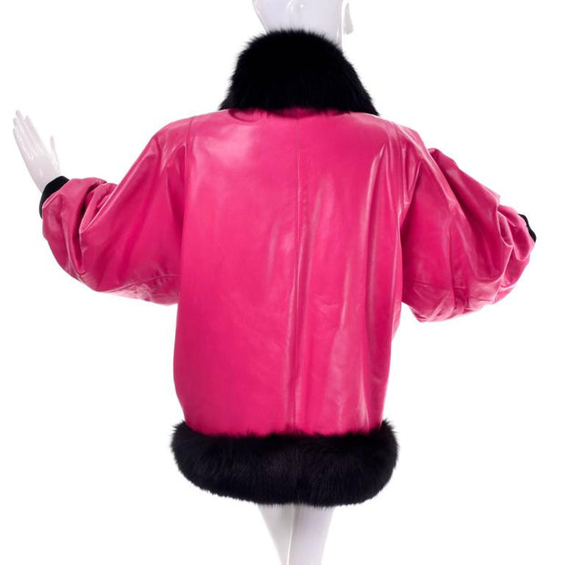 Pink and Black Leather Jacket Documented 1987/88 vintage women's Yves Saint Laurent Coat