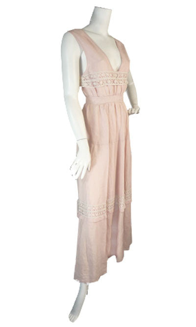 Pink Edwardian Vintage Linen and Lace Dress - Dressing Vintage