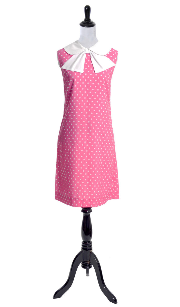 Pink Polka Dot vintage dress with white bow 38B - Dressing Vintage