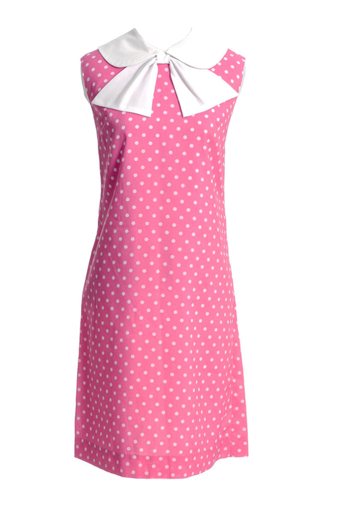1960s 1970s pink polka dot dress