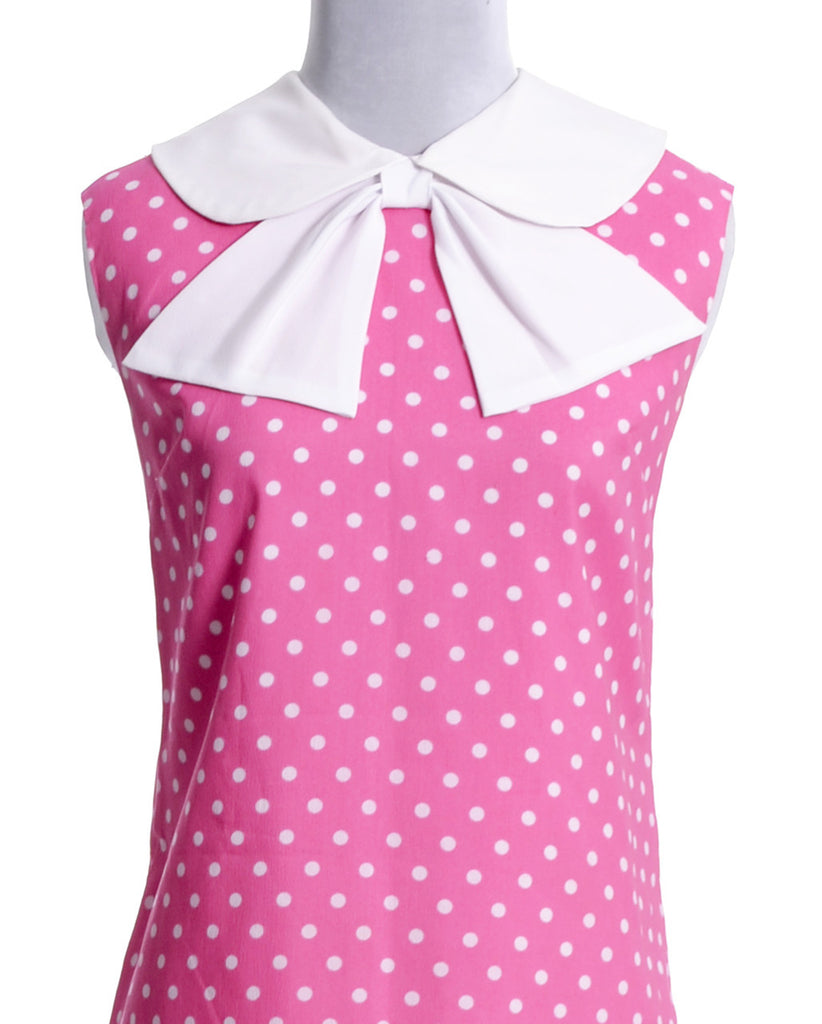 vintage pink polka dot dress with bow