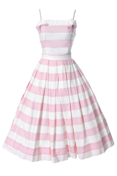 2 Pc Pink and White Striped Vintage Sun Dress - Dressing Vintage