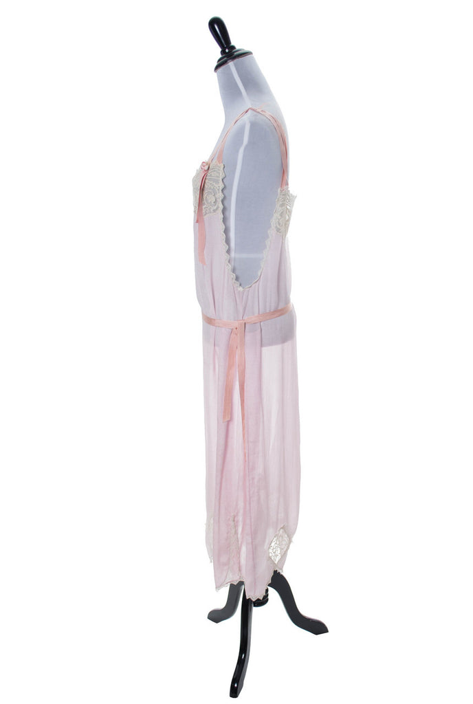 1920s vintage pink silk and lace nightgown