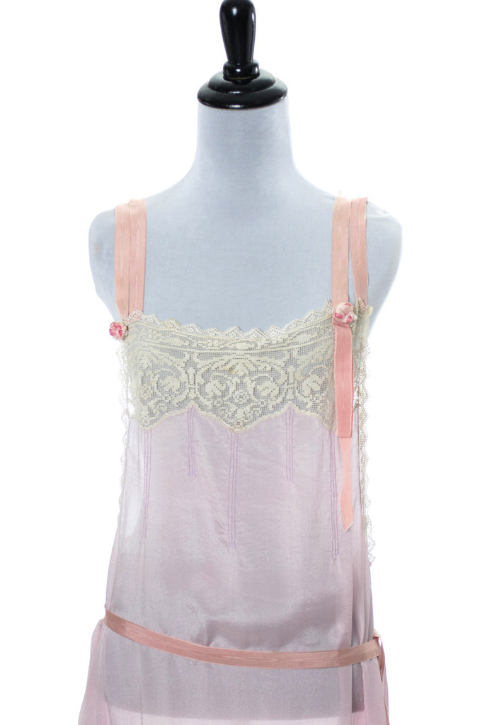 1920s pink silk vintage nightgown